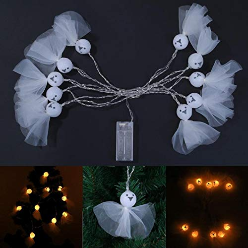 Batteriebetriebene 2.5m 10LED-weiße Schädel-Geist-geformte LED-Schnur beleuchtet ()