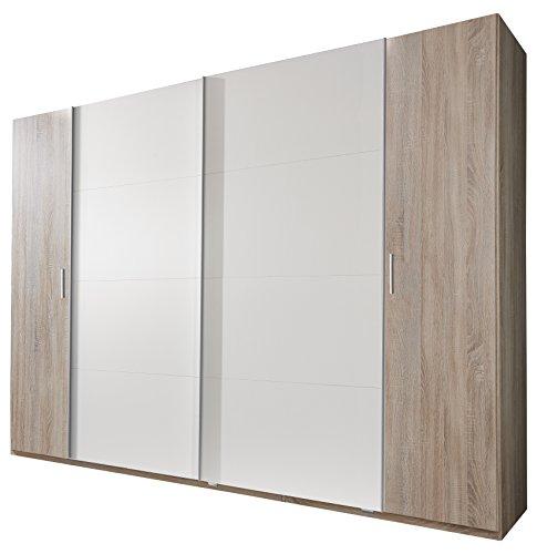 Wimex 479787 Dreh- Schwebetürenschrank, Holz, eiche sägerau nachbildung / schwebetürenfront alpinweiß, 315 x 65 x 210 cm