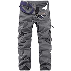 LANBAOSI Hommes Pantalon en Coton Armée Cargo Pantalon Camouflage Camo, Dark Gray, 35.5W