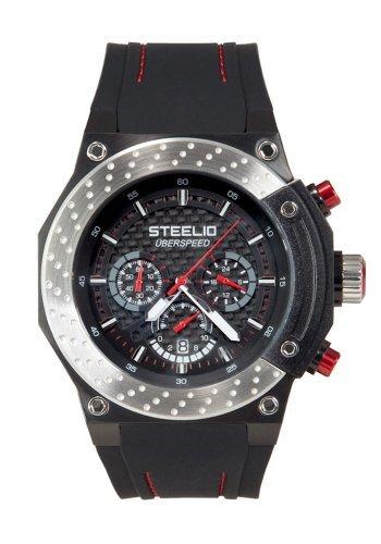 Steelio Men's Überspeed Retrograde Chronograph (Steel-Red)