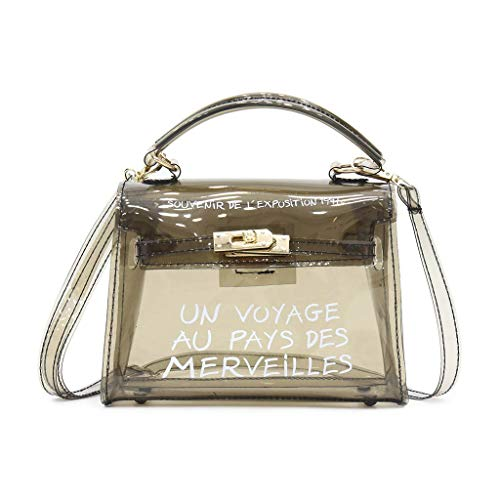 Quaan Damenmode Transparente Umhängetasche Gelee Messenger Bag Solid Color Handtasche