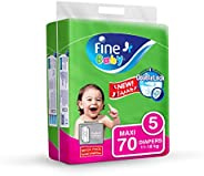 Fine Baby Diapers, Size 5, Maxi 11-18 Kg, Mega Pack, 70 Count