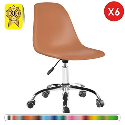 Decopresto 6 x Schreibtischstuhl Beine:Chrom Stitz:Nussbaum DP-DSOA-MC-6P - Esszimmer Nussbaum Barhocker