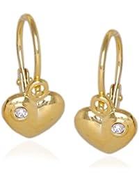 Mädchen Damen Herz Ohrstecker Zirkonia Kinder Ohrringe Echt Gold 585 14 Karat