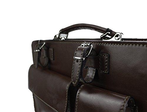 Aktentasche Lehrertasche Crown in diversen Farben | Echtes Leder Made in Italy | Umhängetasche (B40xH30xT10) Dunkelbraun