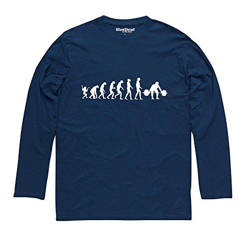 Evolution of Lifting Langarmshirt Funny Novelty Gift, Herren Dunkelblau