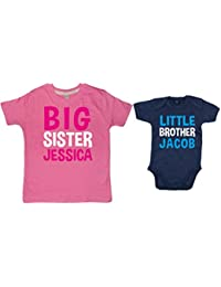 Edward Sinclair Personalised Big Sister T-Shirt & Little Brother Bodysuit Set - Please Leave Required Names and Sizes In The Free Gift Message Section!