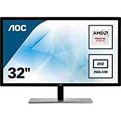 "AOC Value-Line Q3279VWF écran Plat de PC 80 cm (31.5"") Quad HD LED Noir - Écrans Plats de PC (80 cm (31.5""), 2560 x 1440 Pixels, Quad HD, LED, 5 ms, Noir)"