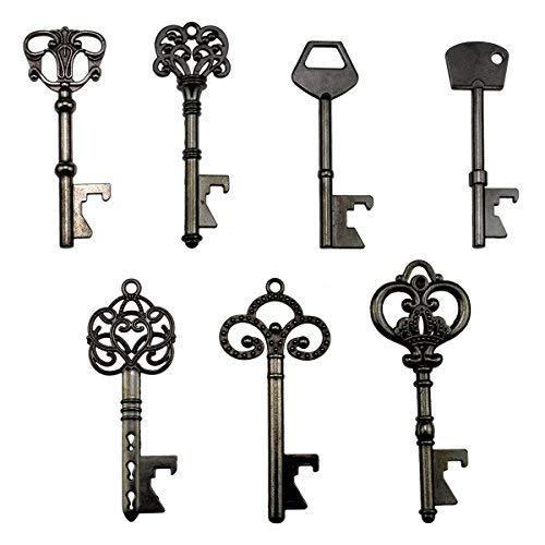 Schlüssel-Flaschenöffner - sortiert Vintage Skelett Schlüssel, Hochzeit Partyzubehör (70 Stück, schwarz)