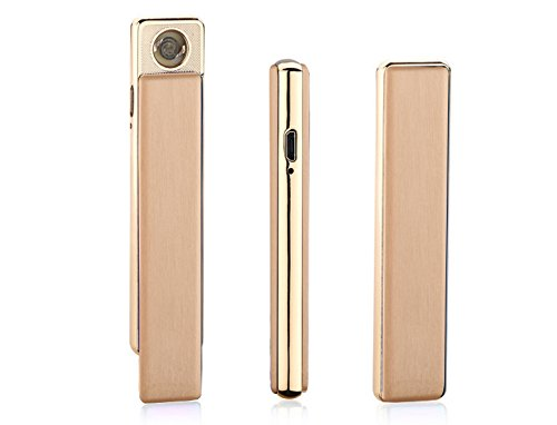 Aokvic Super Slim Zigarette Mini USB elektronisches Feuerzeug Quiet lady Gentleman Design (Gold)
