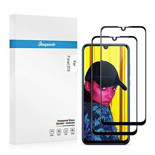 Beyeah [2 Stück] Panzerglas Bildschirmschutzfolie für Huawei P Smart 2019 Panzerglas, [Full Coverage] [Perfekt Version] [Anti-Öl] [Anti-Bläschen] (Schwarz)