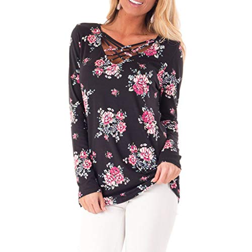 Tooth\'\' Damen Locker Bluse Tops,Herbst Mode Frauen Langarm Shirt V-Ausschnitt Blumendruck T-Shirt Hemd Oberteil 2019(Schwarz,S)