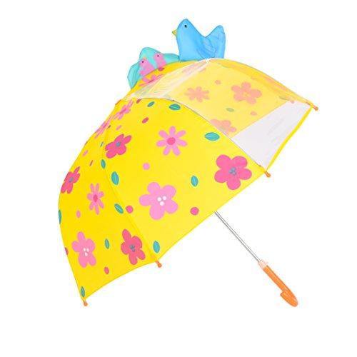 Preisvergleich Produktbild Kinder Regenschirm, Rainbrace Kinderschirm regnerischen Tag für Jungen und Mädchen mit Sichtfenster Panel, Vogel und Blume, gelb
