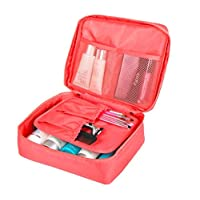 Pink Travel Makeup Organizer Necessity Toiletry Cosmetic Bag Storage Pouch For UnderwearTowel