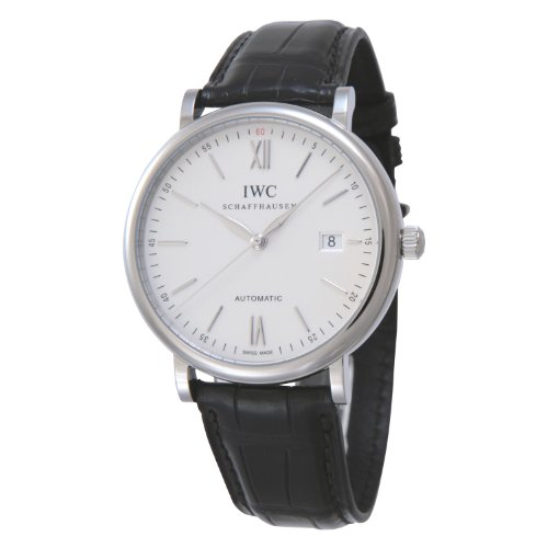 IWC MEN'S 40MM BLACK LEATHER BAND STEEL CASE AUTOMATIC ANALOG WATCH IW356501