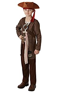 Piratas del Caribe - Disfraz de pirata Jack Sparrow para niño, infantil 9-10 años (Rubie