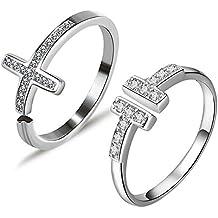 79d1e964b6f9 Gilind Set de 2 anillos de compromiso