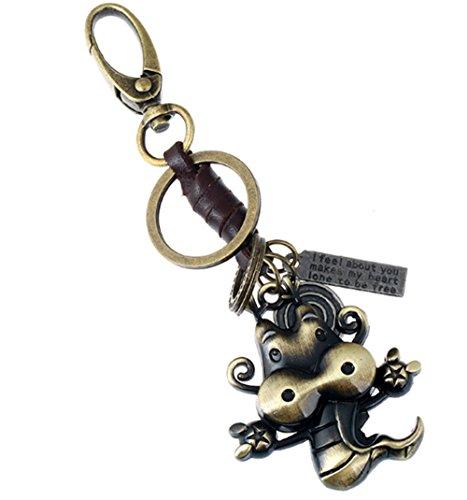 TOPSTORE01 Divertido llavero 12 Signos Del Zodiaco chino Metal llavero Bolsa Colgante (Dragón sano)