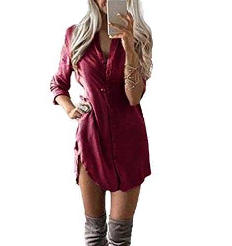 CuteRose Women Casual Long Sleeve Button Down for Office Wear Western Shirt Wine Red L (Dressy Western Shirt)
