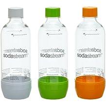 SodaStream Pet-Flasche 2 + 1, orange/grün/weiß aus bruchfestem kristallklarem PET und frei von BPA!  ideal für Schule, Sport, Freizeit
