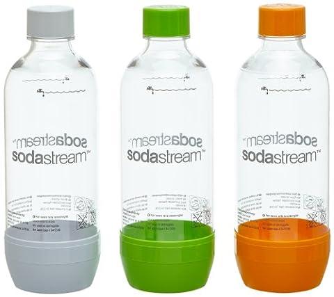 SodaStream Pet-Flasche 2 + 1, orange/grün/weiß aus bruchfestem kristallklarem PET und frei von BPA! ideal für Schule, Sport,