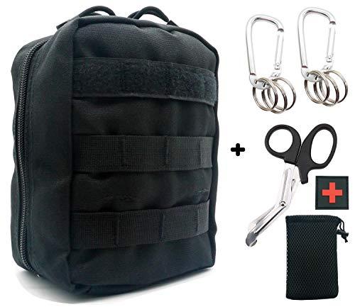 (SEVENPICKS EMT Pouch Tactical MOLLE Medizinische Erste Hilfe Ifak Utility Pouch mit Karabiner/Schere / Pfeife Feuerstein (Balck))