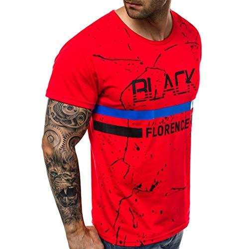 en Kurzarmshirt Top 2019 Sommer Print T-Shirt Basic O-Neck Männer Kurzarm Tops Rundhals-Ausschnitt Moderner Sweatshirt Crew Neck Slim Fit 2019 Vatertags ()