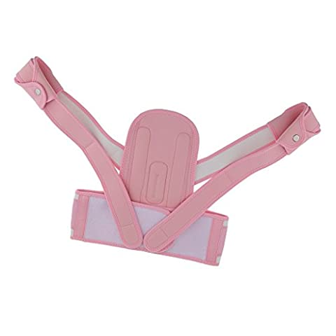 MagiDeal Posture Correcteur d'Épaule Ceinture Lombaire Support Posturale Corrective Thérapie pour Soulager la Douleur et Régler la Posture du Corps - Pour Enfants - L, Rose