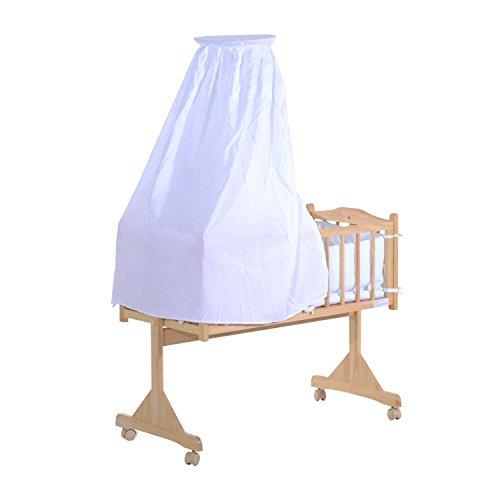 Homcom – culla lettino a dondolo per neonati in legno naturale con zanzariera e biancheria da letto
