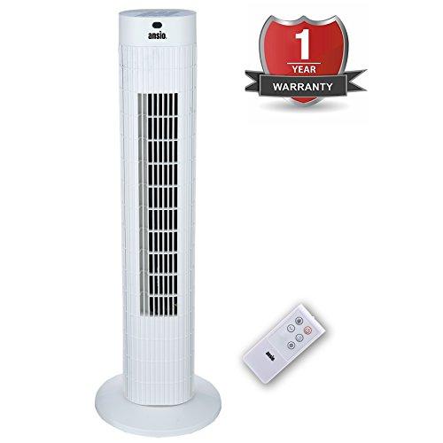 ANSIO® 76cm Turmventilator / Ventilator mit Fernbedienung Weiß