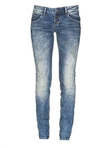 M.O.D Damen Skinny Jeans Ulla Slim Leg mozaik blue destroyed 28/30