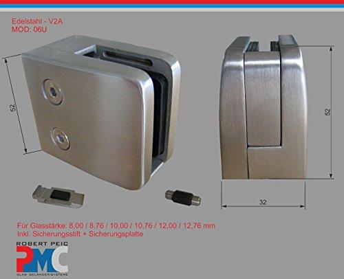 PMC Edelstahl V2A Glashalter flach Glasklemme Glass Clamp + Sicherungsplatte; 8,00 mm