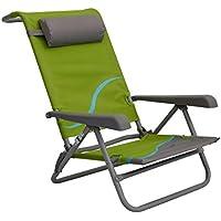 Meerweh Unisex Strandstuhl mit Verstellbarer Rückenlehne und Kopfpolster Klappstuhl Anglerstuhl Campingstuhl