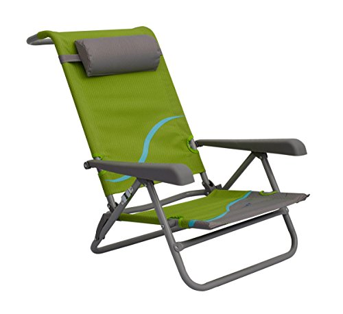 Meerweh Erwachsene Strandstuhl mit Verstellbarer Rückenlehne und Kopfpolster Klappstuhl Anglerstuhl Campingstuhl, Gr&Uumln, XXL