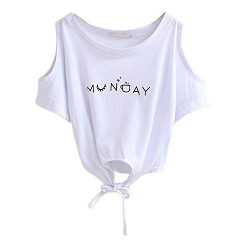 Yalatan Women Casual Boho Off Shoulder Shirt Summer Crop Tank Beach Tops Blouse Tee White