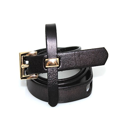 Preisvergleich Produktbild Yzibei Wild Damen-klassischer echter Ledergürtel,  der nach Kleid-Hosen gut sucht (Farbe : Schwarz,  Größe : S)