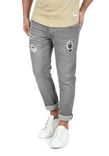 !Solid MOY Herren Jeans Hose Denim Aus Stretch-Material Mit Destroyed-Look Slim Fit, Größe:W36/32, Farbe:Light Grey (9640)