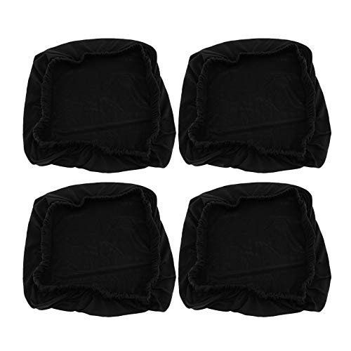 4x schwarz dehnbar elastische Schonbezüge Abdeckung Esszimmer Stuhl Sitzbezug Esszimmerstuhl (Esszimmerstuhl Sitzbezüge)