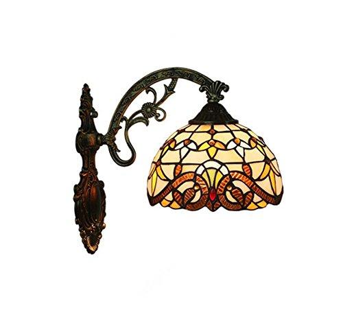 Barocke Tiffany Style Wandleuchte Handmade Glasmalerei Wandleuchte Korridor Lichter Schlafzimmer Wohnzimmer Nachttischlampe Dekoration E27 (Design : EIN) Land-charme-kerze