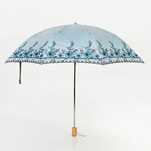 Lace Shades (CYJZ® Sun Umbrella Shade Sun Regenschirm Regen und Regen Lace Umbrella Anti-UV Regenschirm Vinyl Falten Regenschirm Leichtes Tragegewicht ( Farbe : Blau ))