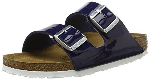 BIRKENSTOCK Damen Arizona Birko-Flor Pantoletten, Blau (Dress Blue Lack), 39 EU Patent Dress Sandal