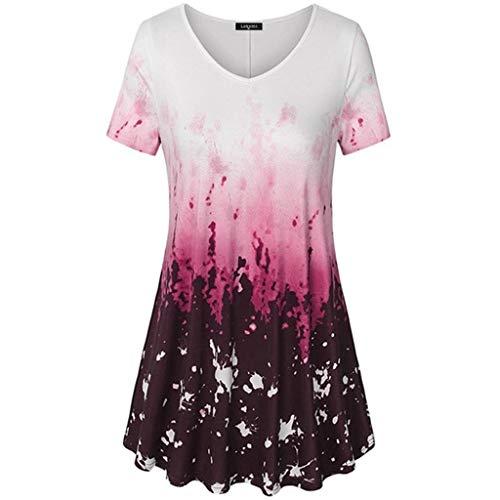 MRULIC T-Shirt Damen V-Ausschnitt Kurze Ärmel Bluse Gradient Farbe Tunika Oversize Oberteile Casual Sommer Lose Shirt (Weinrot,EU-50/CN-5XL)