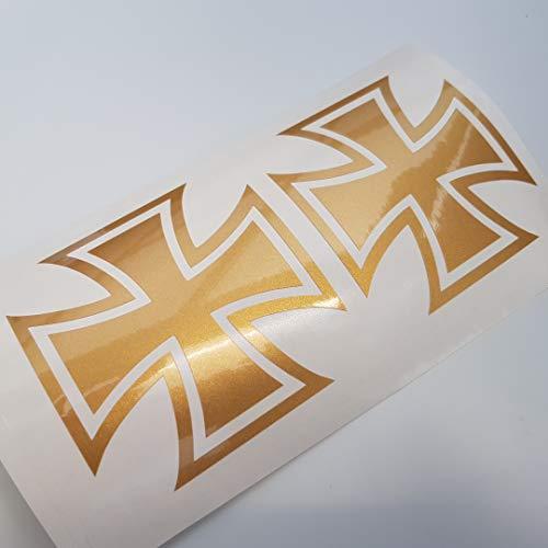 folien-zentrum Eisernes Kreuz Iron Cross Metallic Gold Shocker Hand Auto Aufkleber JDM Tuning OEM Dub Decal Stickerbomb Bombing Sticker Illest Dapper Fun Oldschool -