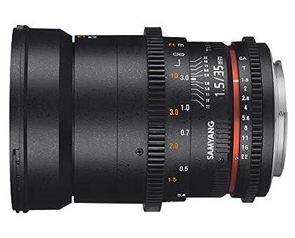 Samyang F1312909101 - Objetivo para vídeo VDSLR para Micro Cuatro Tercios (Distancia Focal Fija 35mm, Apertura T1.5-22 AS UMC II, diámetro Filtro: 77mm), Negro