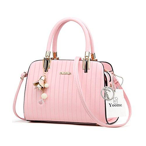 Borse eleganti Yoome Borse a tracolla in metallo a righe con cinturino in tracolla per donne - Nero Rosa