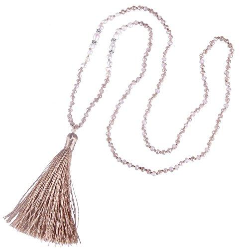 KELITCH Tasselkette Bohemian Perlmutt Kristall Perlen Quaste Anhänger Halskette Damen Lange Kette - Champagner