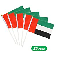 25 pieces UAE Flag Hand Waving Desk Flags Double Sided Cake Topper Countries Flag UAE Flag Day UAE National Day Party Supplies Flag Decoration for Baby Birthday Party