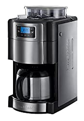 Russell Hobbs 21430-56 Digitale Thermo-Kaffeemaschine Buckingham Grind&Brew, 1.25l, integriertes Mahlwerk, 1000 Watt, Edelstahl/schwarz