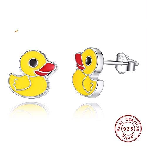 cker Ohrhänger Mode Gelbe Ente Emaille Für Frauen 925 Sterling Silber Kinder Baby Frauen Baumeln 1 para ()