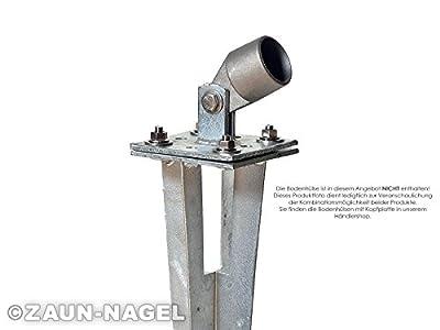 Strebenplatte Strebenhalter quadratisch 10x10 cm (4 Bohrungen) für Streben 38 mm Ø - kombinierbar mit Bodenhülsen von Zaun-Nagel - Du und dein Garten